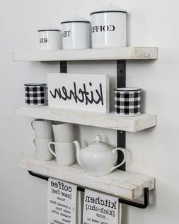 """Industrial 3-Tier Floating Shelf with Towel Bar, 24"""" White K"""