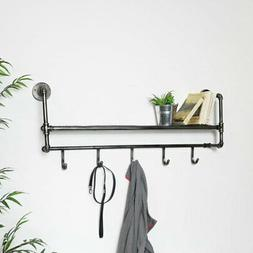 Industrial Wall Shelf with Hooks shelving unit metal kitchen
