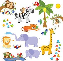 treepenguin Kids Jungle Animals Wall Decals - Cute Safari Th