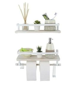 Kaliza White 2-pack Floating Shelves Rustic Wall Mounted Dec