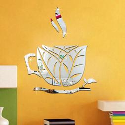 Kitchen 3D Coffee Cup Acrylic Mirror Wall Stickers Vinyl Dec