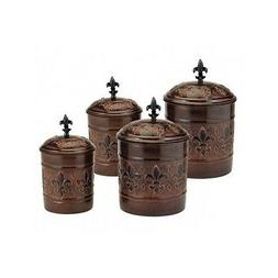Kitchen Canister Set Damask Metal Storage Decor Fleur de Lis
