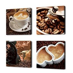 Kitchen Canvas Art Coffee Bean Coffee Cup Canvas Prints Wall