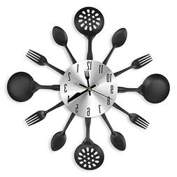 "CIGERA 14"" Kitchen Cutlery Wall Clock with Forks and Spoons"