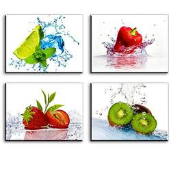 Kitchen Pictures Wall Decor, 4 Piece Set Colorful Fruits and