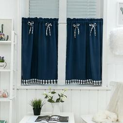 Kitchen Solid Color Bows Short Curtain Window Valance Drape