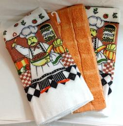 Kitchen Towels Set of 3 Chef Cooking Brown Green Orange Yell
