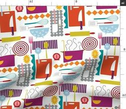 Kitchen Utensil Rainbow Mod Decor Whisk Fabric Printed by Sp