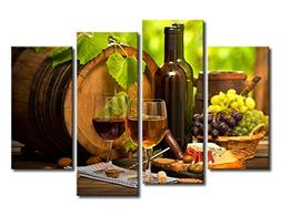 Kitchen Wall Art Canvas Artwork Fruits Grapes Wine Bottle Fo