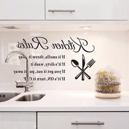 Kitchen Wall Stickers 3D Removable Vinyl Mural Home Rules Qu