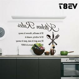 Kitchen Wall Stickers DIY 3D Removable Home Rules Quote Deco