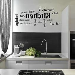 Kitchen Words Phrases Wall Sticker Quote Decal Stencil Trans