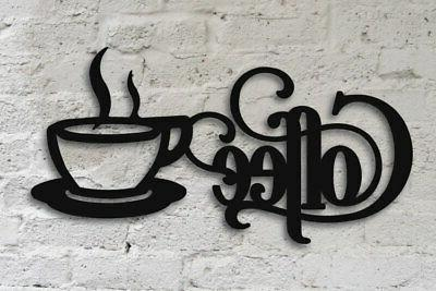 "Black Coffee Sign with Mug 14"" x 7"" - Metal Kitchen Bistro W"