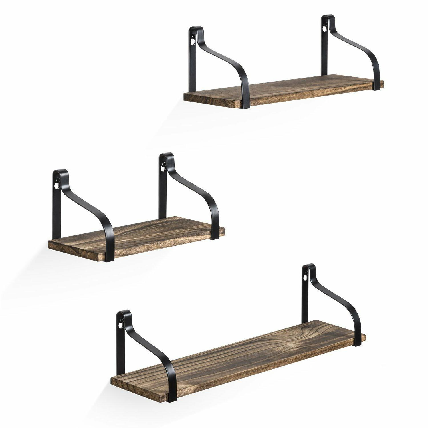 3 floating shelves storage wall