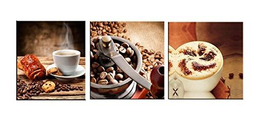 3 panels coffee wall decor