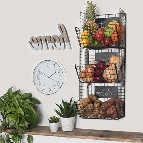 Premium Mounted Hanging Baskets Chalkboards High-Grade Black Iron Fruit or Produce Storage Towel Rack Country-Style