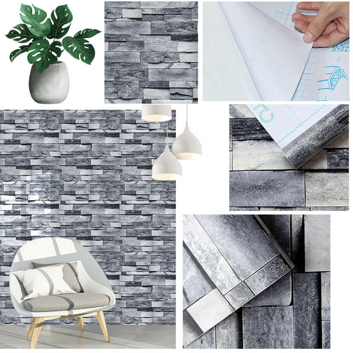 3D Stone Wallpaper Adhesive Stickers Kitchen Bedroom