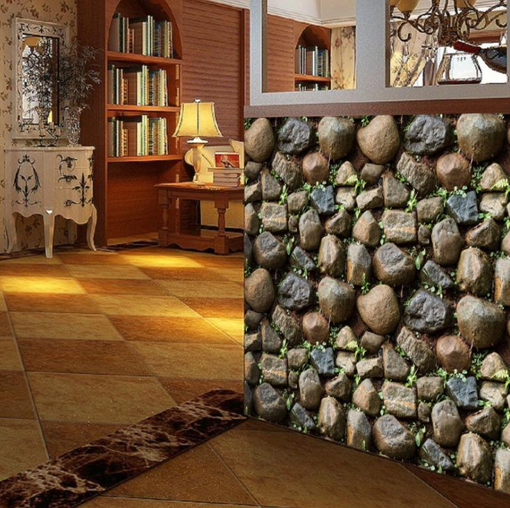 3D Wall Paper Stone Sticker Room Kitchen Hot