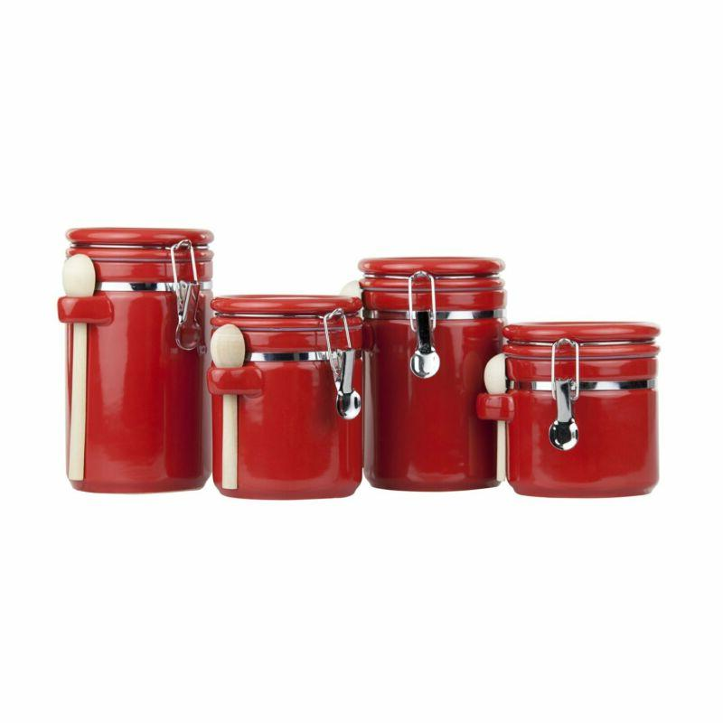 4 piece ceramic canister set with spoon