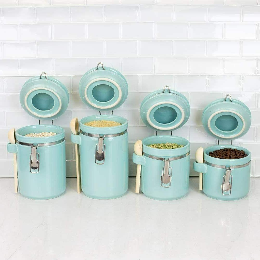 4 Piece Ceramic Canister Set with Wooden Spoons Airtight Cla