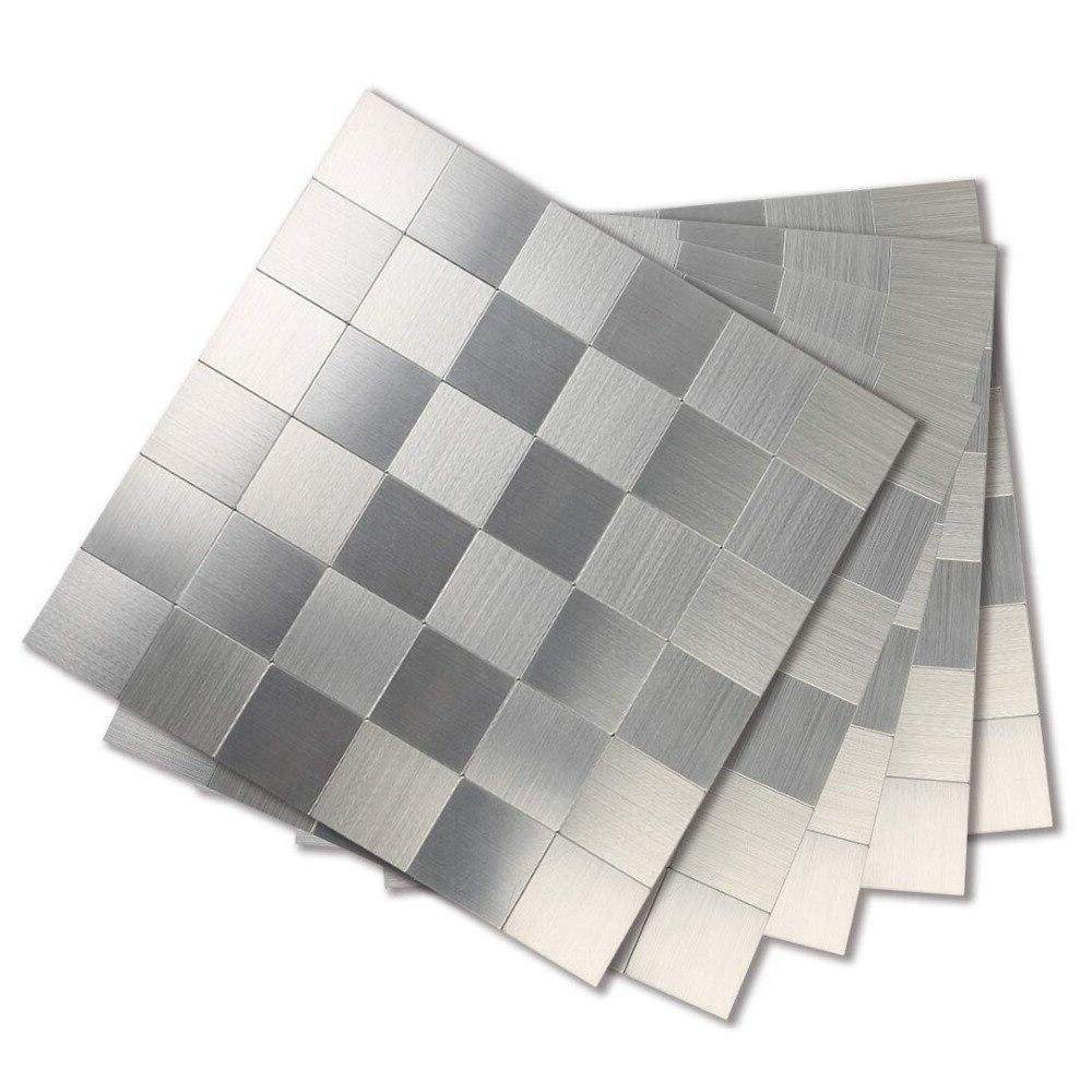5PCS <font><b>Stainless</b></font> Stickers Room and Metal Wall for <font><b>Kitchen</b></font> Backsplash Inch