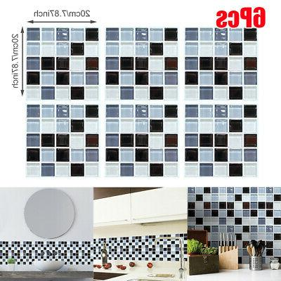 6 x simulation 3d mosaic self adhesive