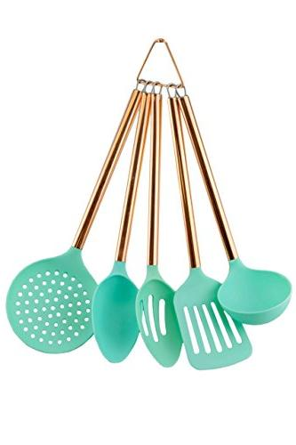 COOK With COLOR 5 Piece Mint Nylon Cooking Utensil Set on a