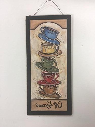 Cafe Espresso Stacked Coffee Mugs Kitchen Wooden Wall Art Si