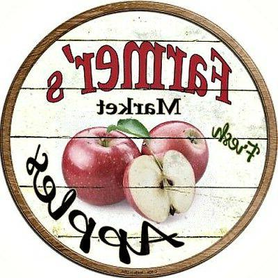 """Farmers Market Apples 12"""" Round Metal Kitchen Sign Novelty R"""