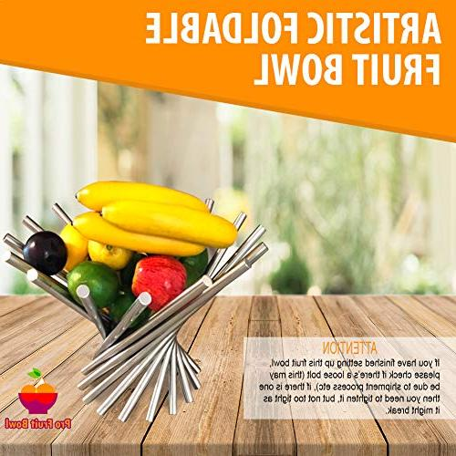 Foldable Rotation Fruit Basket, Decorative Bowl with Unique Rust Stainless Steel, Modern Storage Kitchen Orange Banana Apple Wrench Included