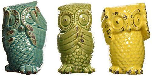 IMAX 69230-3 Wise Owls – Set of 3 Ceramic Statuaries, Hand