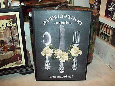 Large French kitchen wall decor plaque chalkboard look Paris