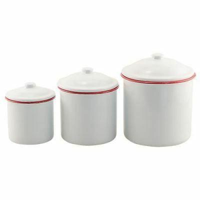 Red Rim Enamel Mini Canister Set Vintage Country Farmhouse D