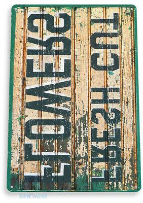 "TIN SIGN ""Fresh Cut Flowers"" Metal Decor Store Kitchen Cot"