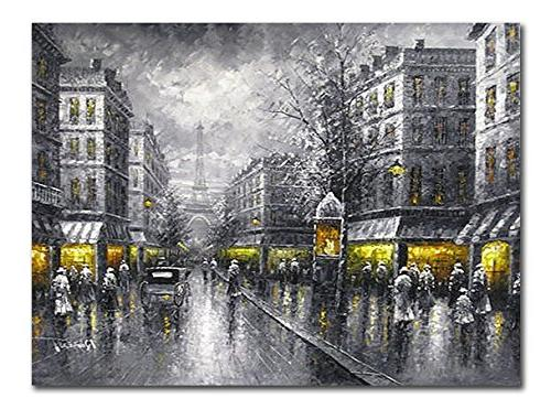 Wieco Art Paris Street View City Canvas Prints Wall Art By D