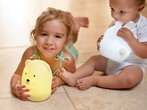 LumiPets Cute Silicone Baby Night Touch and - Infant or Toddler Color Changing Bright Lamp