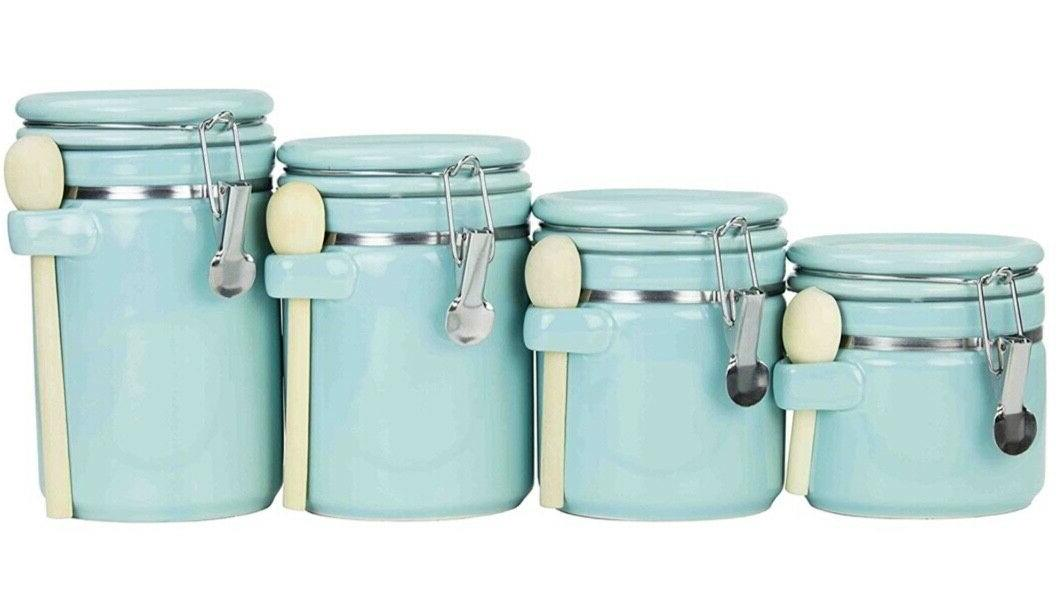 ceramic canister set w spoon