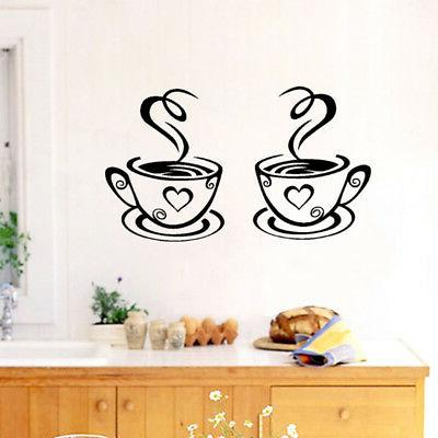 Coffee Cups Vinyl Decal Pub Decor Wall Art