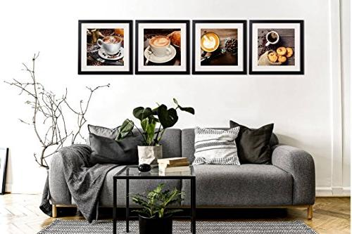 Coffee Art Decor Modern Still Life Artwork Canvas Piece Frame White Matte Beans For Pictures