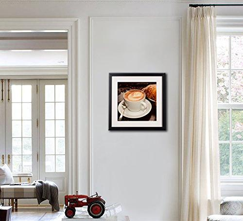 Coffee Framed Wall Decor Modern Life Canvas Frame White Matte Beans For