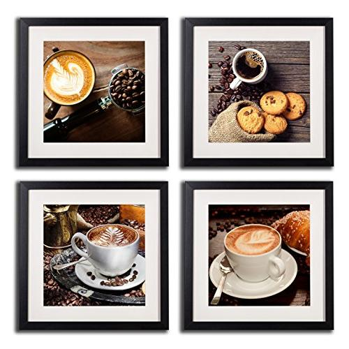 Coffee Art Decor And Modern Artwork Painting Printed Canvas Piece Black Frame Beans Pictures