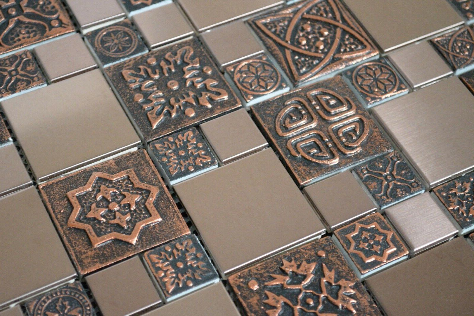 Copper Stainless Metal Tile Kitchen