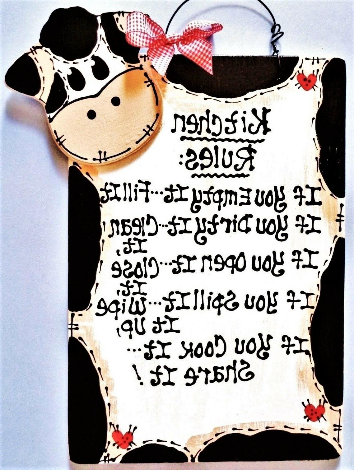 cow kitchen rules sign wall art hanger