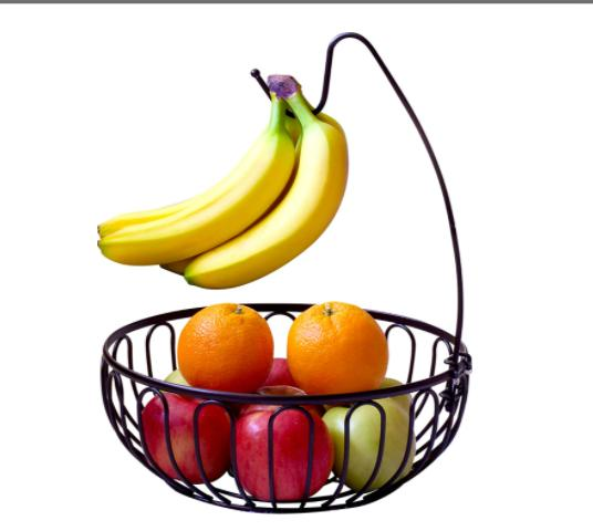 DecoBros Wire Fruit Tree Bowl with Banana Bronze