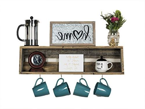 del Hutson Designs - Rustic Coffee Bar Floating Shelf, USA H