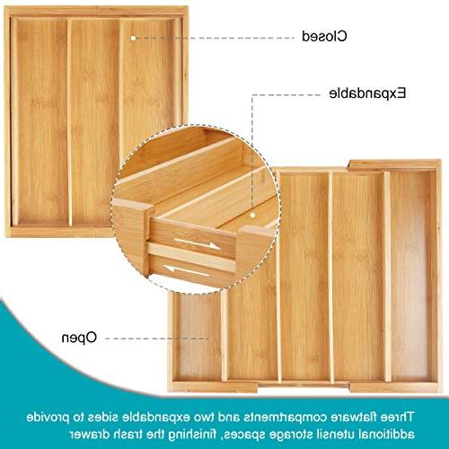 Expandable Tray & Drawer Organizer for Kitchen Drawer Storage Bamboo-