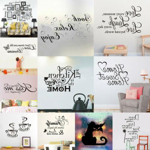 Family Kitchen Quote Wall Sticker Bedroom Vinyl Decal Home D