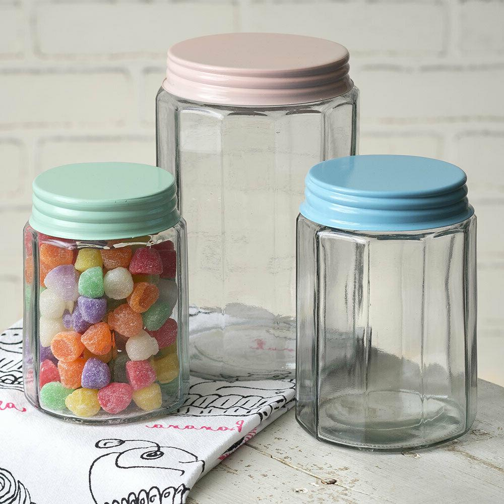 Farm House Country Style Set of Three Faceted Glass Jars Sto