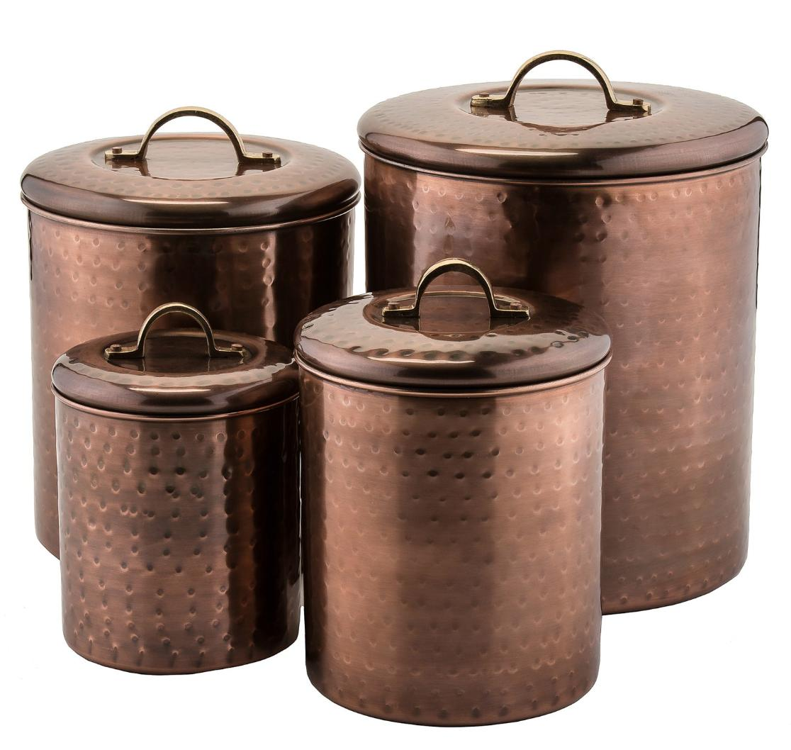 Farmhouse Kitchen Decor Canister Set 4 Rustic Country Hammer