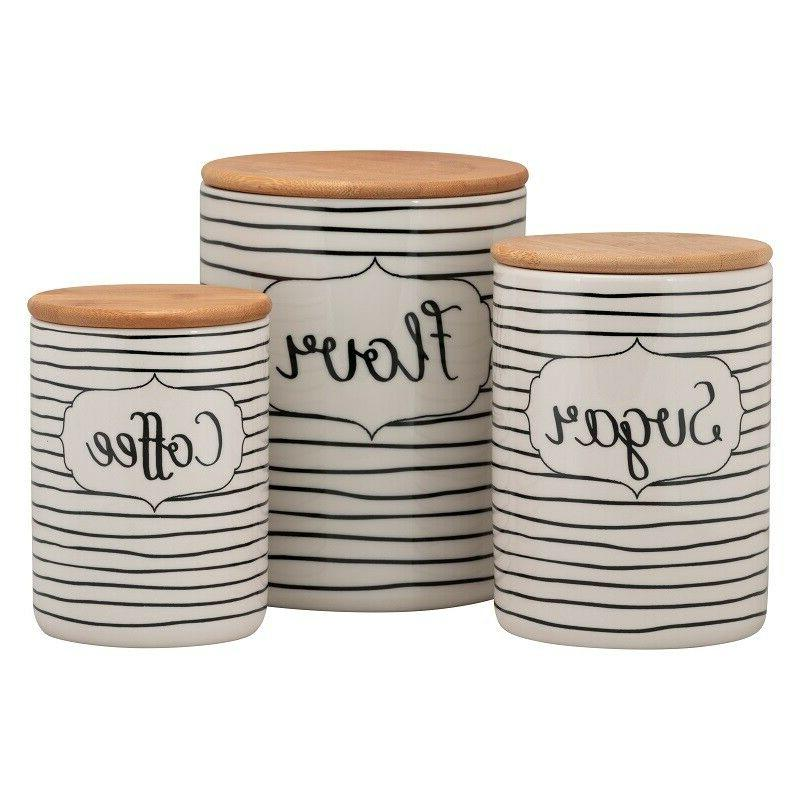 Farmhouse Kitchen Decor Modern Country Canister Set 3 Porcel